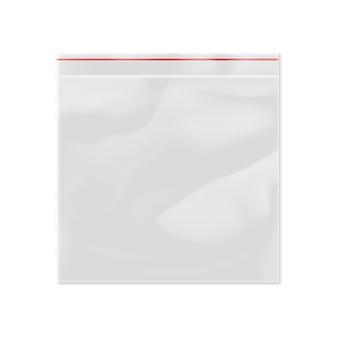 Saco de plástico com zíper modelo 3d em branco