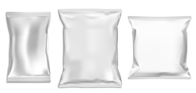 Saco de plástico. pacote de lanche em folha. pacote de comida. bolsa de massa isolada para publicidade.