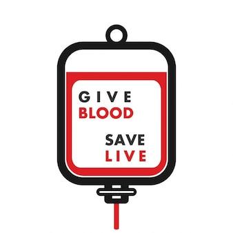 Saco de plástico sangue dê o sangue salvar viver