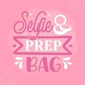 Saco de preparação para selfies citação de maquiagem premium vector