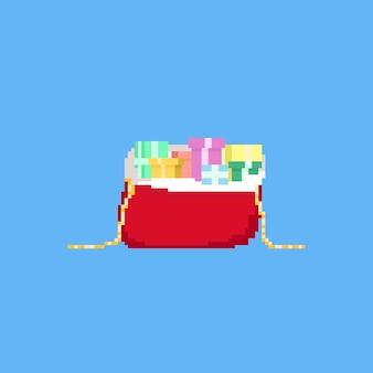 Saco de presente de papai noel de pixel com caixas de presente. natal