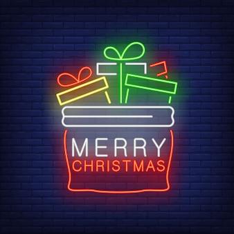 Saco de presentes de natal em estilo neon