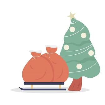 Saco de presentes no trem de neve com árvore de natal