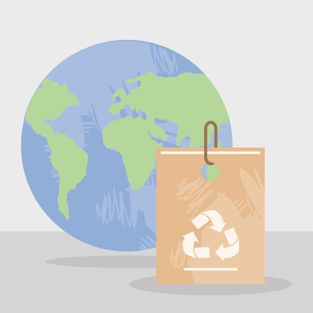 Saco de reciclagem e planeta mundial