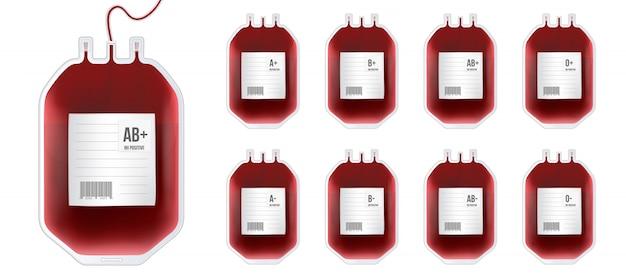 Saco de sangue com tipo, recipiente de plástico para plasma.