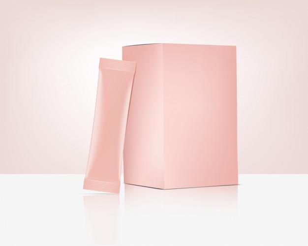 Saco de saquinho 3d matte stick rose gold com a caixa de papel isolada. alimentos e bebidas design de conceito de embalagem.