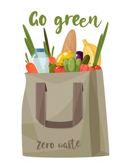 Saco de tecido ecológico para reutilizável usar um saco com alimentos, vegetais e carne, conceito de desperdício zero, sem ilustração vetorial de plástico no fundo branco