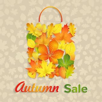 Saco de venda de folhas de outono amarelas, verdes e laranja e texto venda de outono