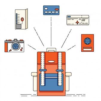 Saco de viajantes e lista de verificação, bilhete de avião, câmera, mapa, passaporte, cartão de crédito