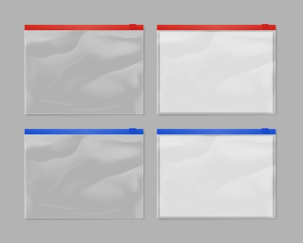 Saco de zíper plástico realista mock-se conjunto