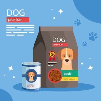 Saco e lata de comida para cães premium