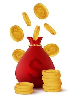 Saco e moedas de dinheiro vermelho realista 3d