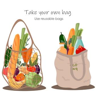 Saco ecológico de mercearia reutilizável com vegetais isolados do fundo branco. resíduos zero (diga não ao plástico) e conceito de alimentos.