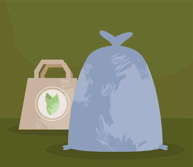 Saco ecológico e saco plástico