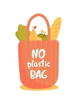Saco ecológico reutilizável com frutas, vegetais, baguete