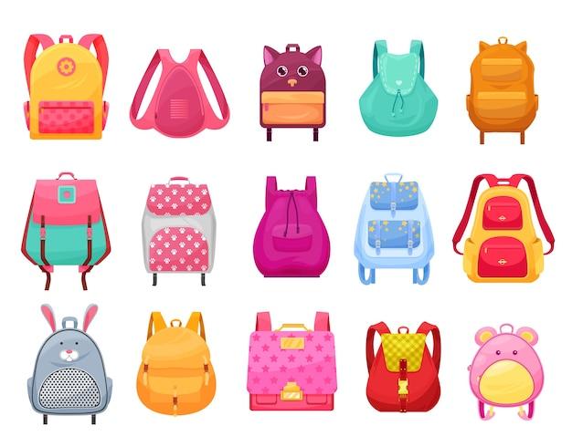 Saco escolar e mochila para conjunto de desenhos animados isolados de meninas. mochilas de estudante e mochilas com bolsos com zíper, rostos de animais, orelhas e patas, estrelas, flores e alças