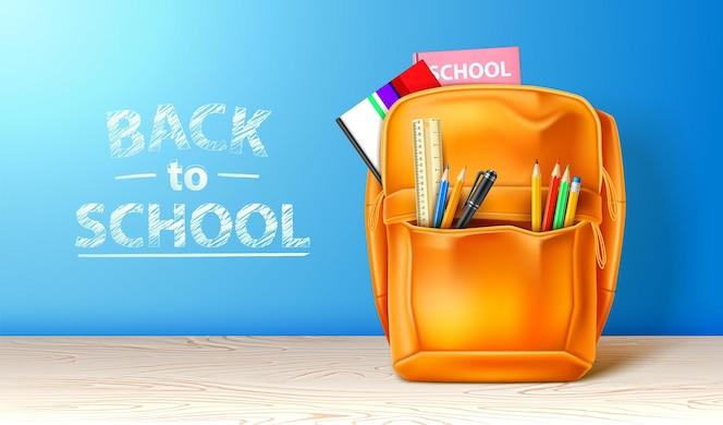 Saco escolar realista com papelaria modelo de cartaz de anúncio de volta às aulas
