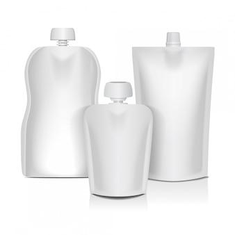 Saco flexível vazio com tampa para embalagens de alimentos ou bebidas, purê de bebê, iogurte, ketchup, maionese