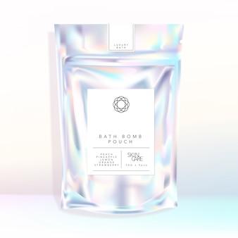 Saco holográfico iridescente resealable saquinho alimentos lanche banho bomba fizzers sal cosméticos produtos para a pele artigos de papelaria artigos de papelaria aromaterapia acessório de moda na moda chique embalagem