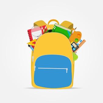 Saco, ícone de mochila com acessórios de escola