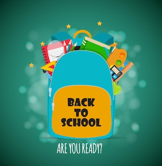 Saco, ícone de mochila com acessórios escolares. ilustração vetorial