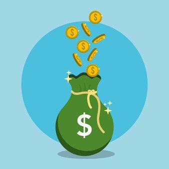 Saco verde com moedas dinheiro dentro