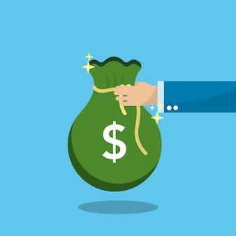 Saco verde dinheiro na pessoa de mão