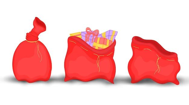 Saco vermelho de natal com presentes e brinquedos