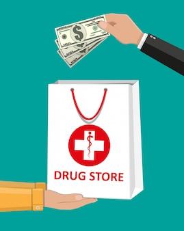 Sacola branca para comprimidos e frascos médicos