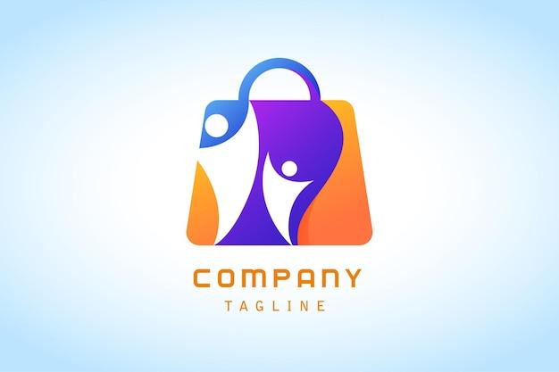 Sacola de compras colorida com logotipo gradiente humano