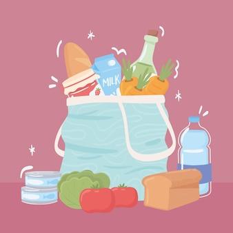 Sacola de compras com comida de mercearia