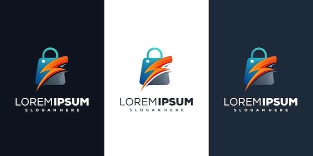 Sacola de compras com design de logotipo de iluminação