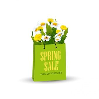 Sacola de compras com flores da primavera