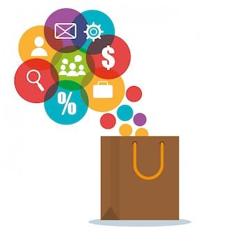 Sacola de compras com ícones de comércio eletrônico