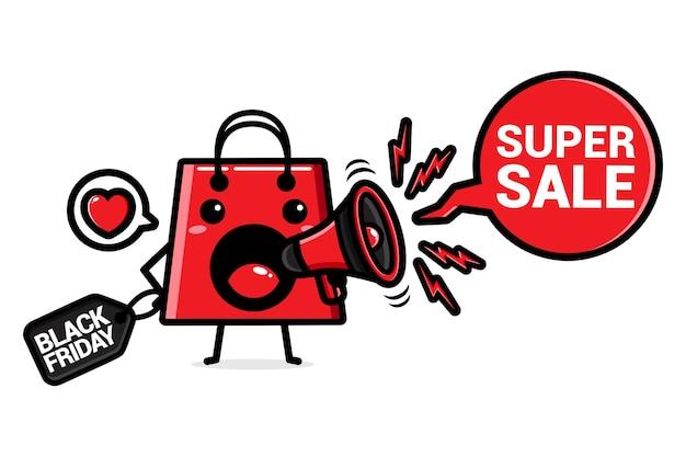 Sacola de compras com megafone black friday