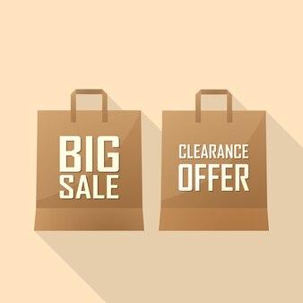 Sacola de compras com oferta de venda e grande venda. ilustração
