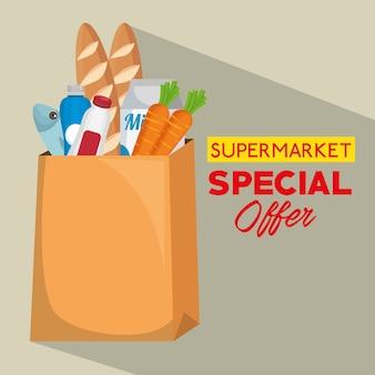 Sacola de compras com produtos de supermercado