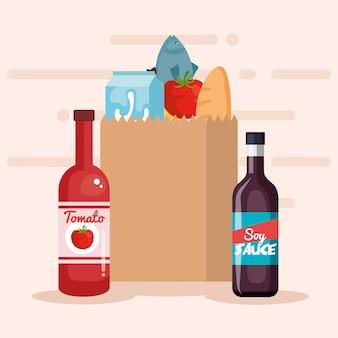 Sacola de compras com produtos