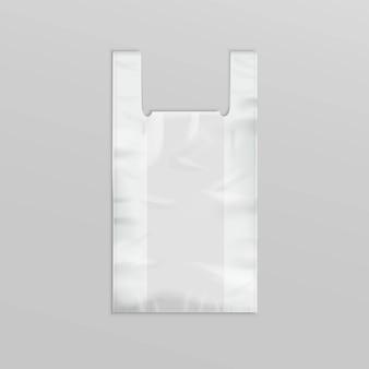 Sacola de compras de plástico com alças no fundo
