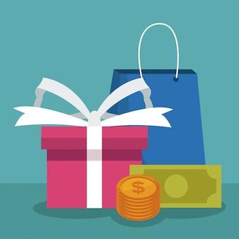 Sacola de compras e caixa de presente