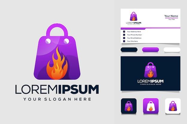 Sacola de compras e design de logotipo de fogo e cartão de visita