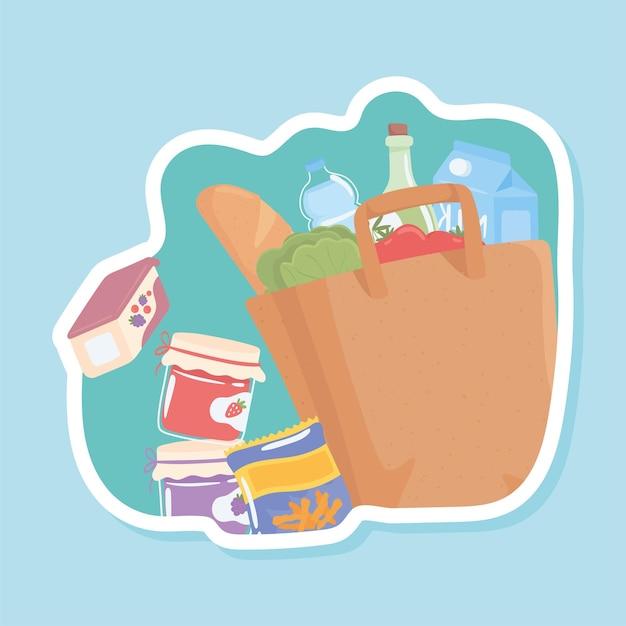 Sacola de compras e ingredientes