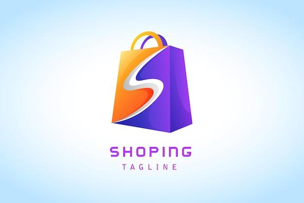 Sacola de compras laranja roxa com logotipo gradiente de letras de fatias brancas