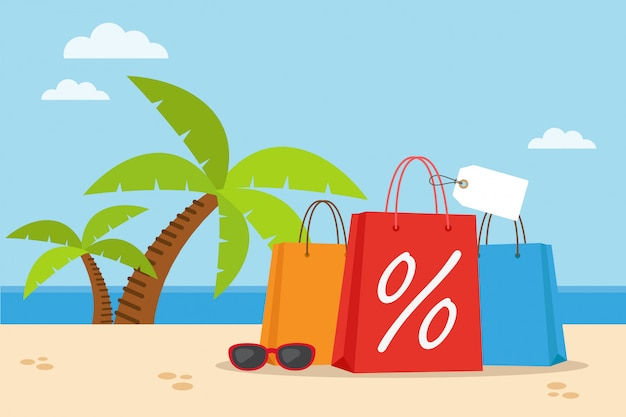 Sacola de compras na praia com palmeiras