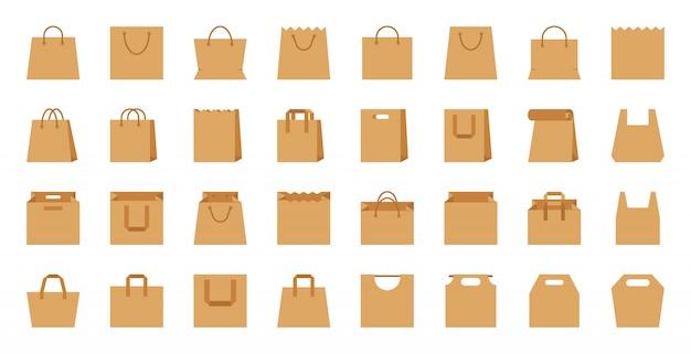 Sacola de compras, pacote de eco de papel artesanal, conjunto de ícones de acessórios plana dos desenhos animados de loja.