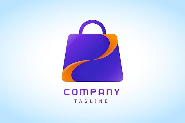 Sacola de compras roxa com logotipo gradiente de fatia laranja