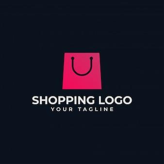 Sacola de compras simples, loja on-line, modelo de design de logotipo de venda