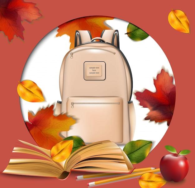 Sacola escolar e quadro redondo de folhas de outono. contexto do conceito de volta ao escola