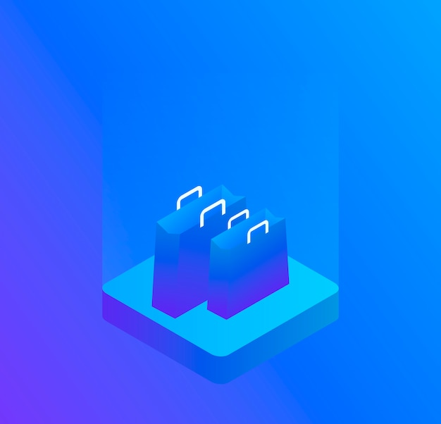 Sacola tridimensional, isolada em azul. ilustração isométrica moderna