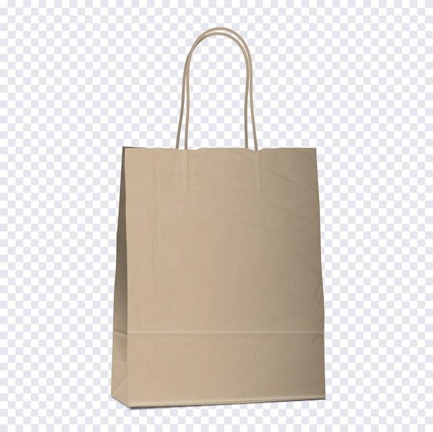 Sacola vazia de compras marrom em fundo transparente